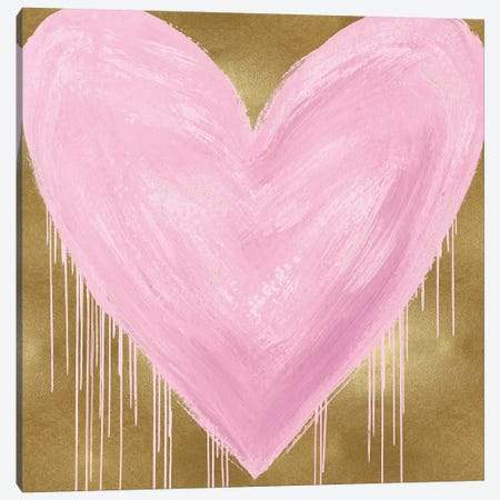 Big Hearted Pink on Gold Canvas Print #LRD20} by Lindsay Rodgers Canvas Artwork