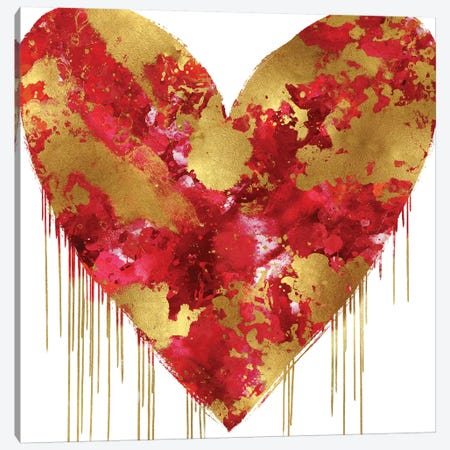 Big Hearted Red and Gold Canvas Print #LRD23} by Lindsay Rodgers Canvas Art