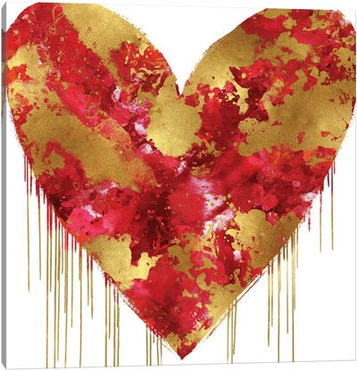 Big Hearted Red and Gold Canvas Art Print