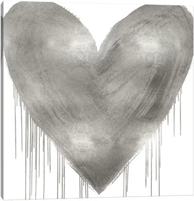 Big Hearted Silver Canvas Art Print