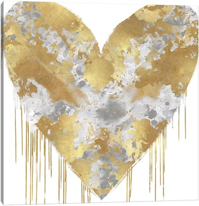Big Hearted Silver and Gold Canvas Art Print