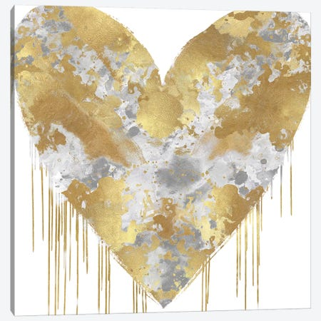 Big Hearted Silver and Gold Canvas Print #LRD25} by Lindsay Rodgers Canvas Art Print