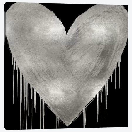 Big Hearted Silver on Black Canvas Print #LRD26} by Lindsay Rodgers Canvas Print