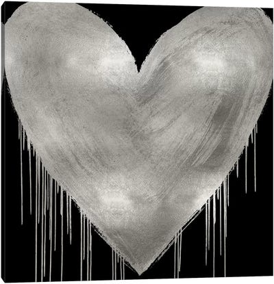 Big Hearted Silver on Black Canvas Art Print