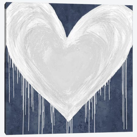 Big Hearted White on Blue Canvas Print #LRD27} by Lindsay Rodgers Canvas Print