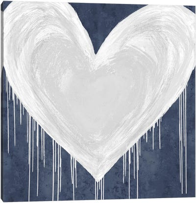 Big Hearted White on Blue Canvas Art Print