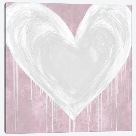 Big Hearted White on Pink Canvas Print #LRD28} by Lindsay Rodgers Canvas Art