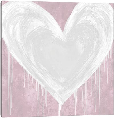 Big Hearted White on Pink Canvas Art Print