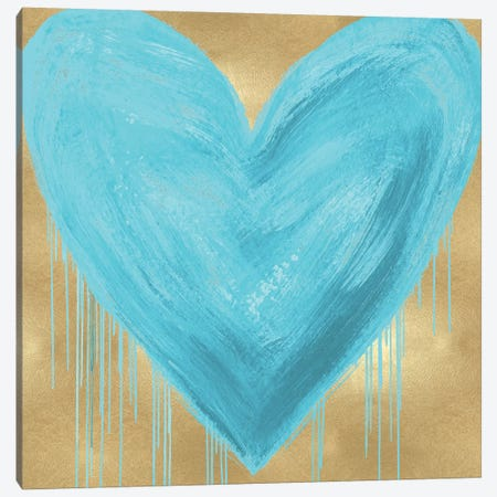 Big Hearted Aqua on Gold Canvas Print #LRD2} by Lindsay Rodgers Canvas Art Print