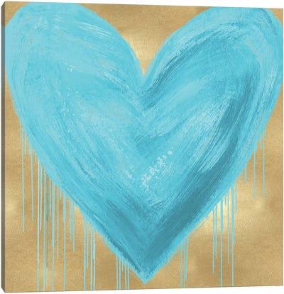 Big Hearted Aqua on Gold Canvas Art Print
