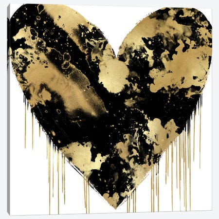 Big Hearted Black and Gold Canvas Print #LRD3} by Lindsay Rodgers Art Print
