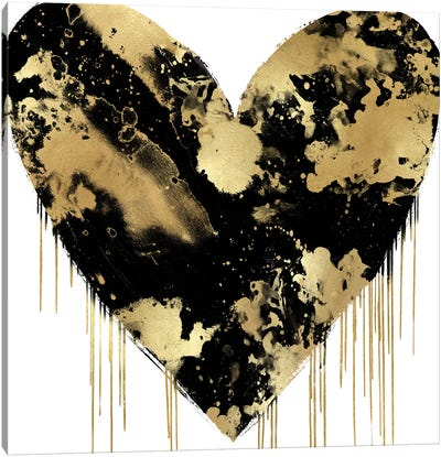 Big Hearted Black and Gold Canvas Art Print