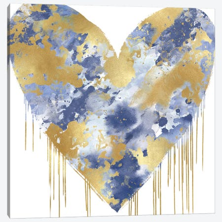 Big Hearted Blue and Gold Canvas Print #LRD4} by Lindsay Rodgers Canvas Wall Art