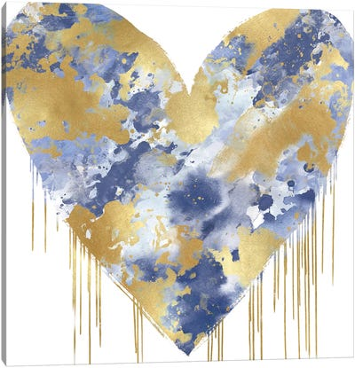 Big Hearted Blue and Gold Canvas Art Print