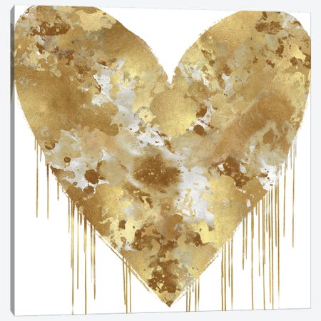 Big Hearted Gold and White Canvas Print #LRD9} by Lindsay Rodgers Canvas Print