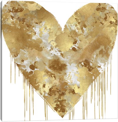 Big Hearted Gold and White Canvas Art Print