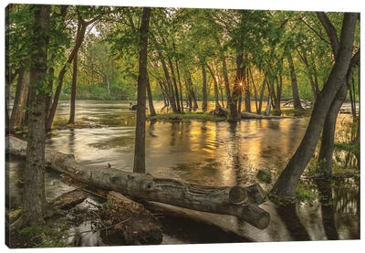 Sunset On Boise River Canvas Art Print