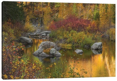 Autumn Colors On The Wenatchee River Canvas Art Print