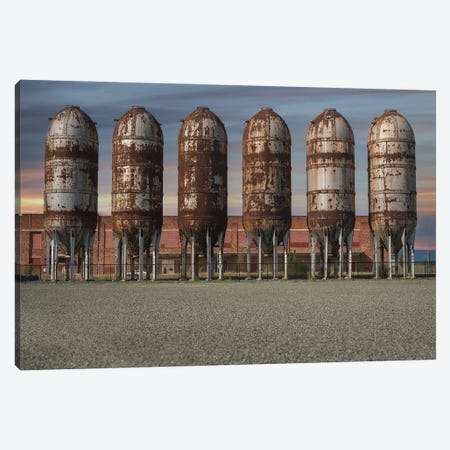 Silo Row Sunset Canvas Print #LRH167} by Louis Ruth Art Print