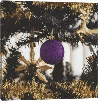 Christmas Tree With Purple Ornament Canvas Art Print