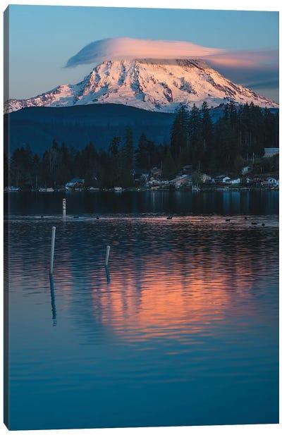 Rainier Sunset On Clear Lake Canvas Art Print