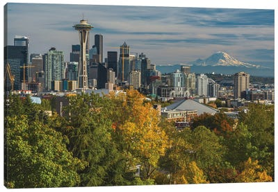 Seattle And Mount Rainer Canvas Art Print
