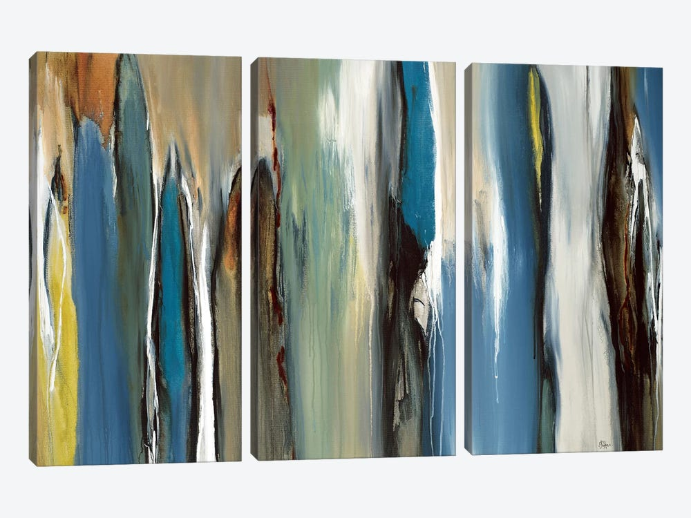 Fields Of Blue by Lisa Ridgers 3-piece Canvas Print