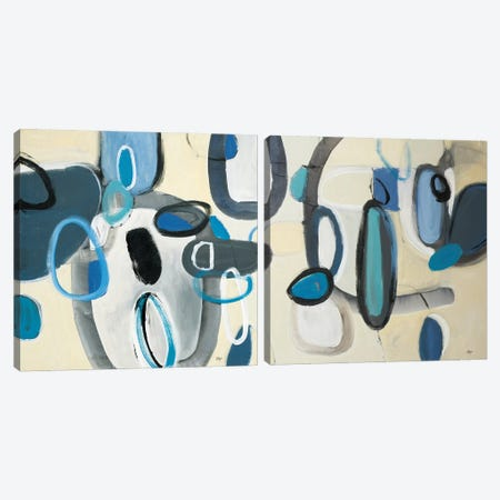 Blue Connection Diptych Canvas Print Set #LRI2HSET001} by Lisa Ridgers Canvas Art