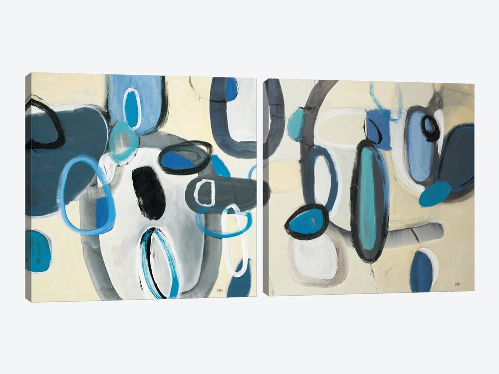 Blue Connection Diptych by Lisa Ridgers 2-piece Canvas Print