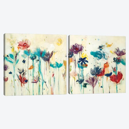 Floral Splash Diptych Canvas Print Set #LRI2HSET002} by Lisa Ridgers Canvas Artwork