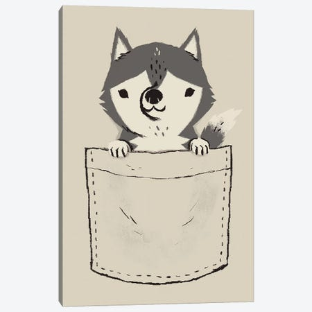 Pocket Husky Canvas Print #LRO55} by Louis Roskosch Canvas Art Print
