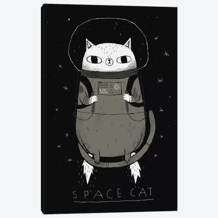 Space Cat Canvas Print #LRO65} by Louis Roskosch Canvas Artwork