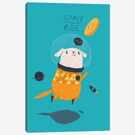 Space Dog Canvas Print #LRO66} by Louis Roskosch Canvas Art