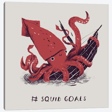 Squid Goals Canvas Print #LRO67} by Louis Roskosch Canvas Wall Art