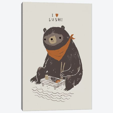 Sushi Bear Canvas Print #LRO68} by Louis Roskosch Art Print