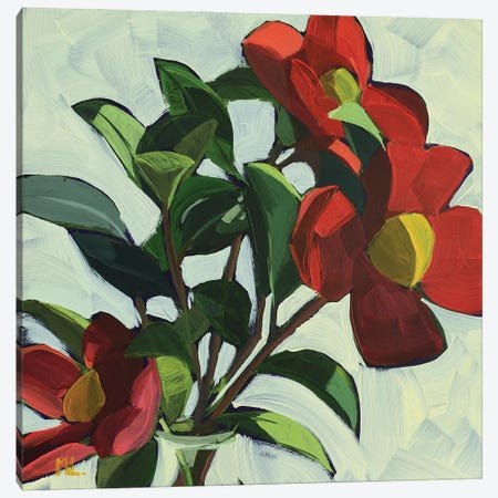 Red Camellias II Canvas Print #LRS16} by Mónica Linares Canvas Print