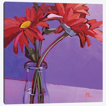 Red Gerberas Canvas Print #LRS17} by Mónica Linares Art Print