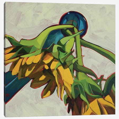 Three Sunflowers Canvas Print #LRS21} by Mónica Linares Canvas Art Print