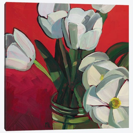 Tulips On Red Canvas Print #LRS23} by Mónica Linares Canvas Art Print