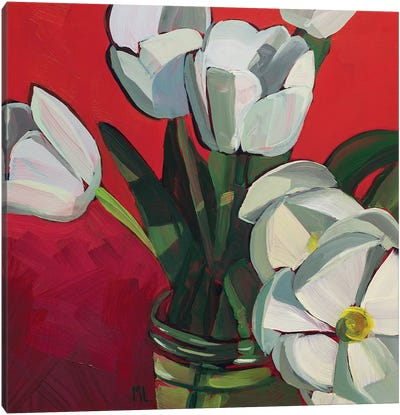 Tulips On Red Canvas Art Print