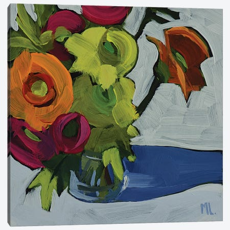 Vase Of Flowers On White Canvas Print #LRS26} by Mónica Linares Canvas Art