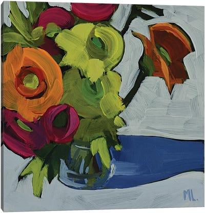 Vase Of Flowers On White Canvas Art Print