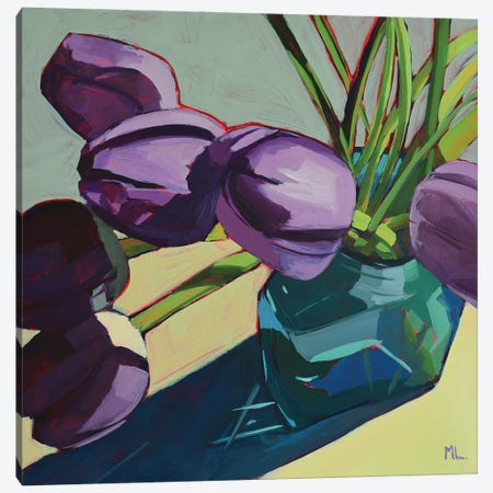 Violet Tulips On Grey Canvas Print #LRS28} by Mónica Linares Canvas Art Print