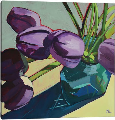 Violet Tulips On Grey Canvas Art Print