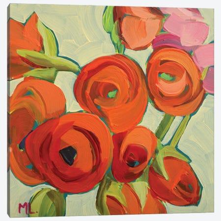 Orange Ranunculus Canvas Print #LRS41} by Mónica Linares Canvas Art Print