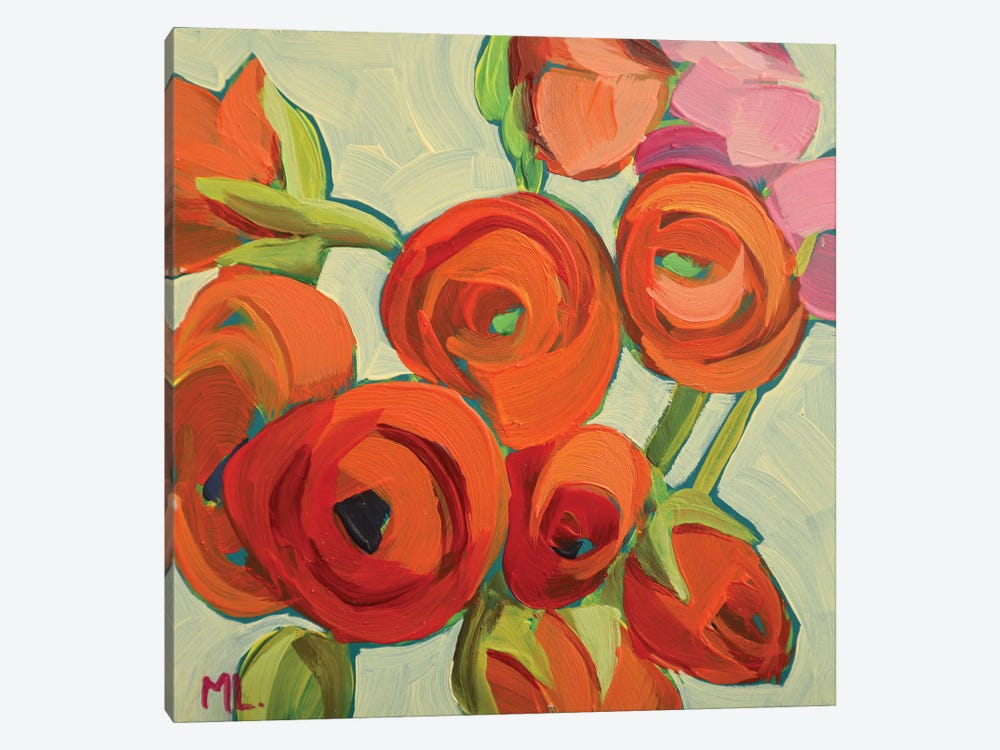 Orange Ranunculus by Mónica Linares 1-piece Canvas Art