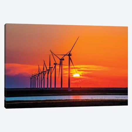 Sunset Turbines Canvas Print #LRU28} by Doug LaRue Art Print