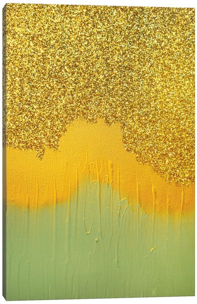 Aqua Gold Shimmer Canvas Art Print