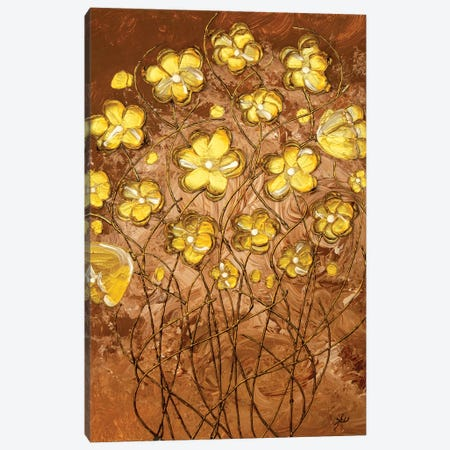 Gold Blossoms On Coffee 3-Piece Canvas #LRX72} by Amber Lamoreaux Canvas Art Print