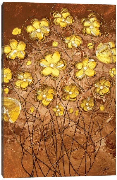 Gold Blossoms On Coffee Canvas Art Print